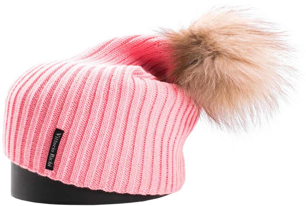Шапка женская Vittorio Richi, цвет: светло-розовый. NSH900515. Размер 56/58NSH900515Стильная женская шапка Vittorio Richi отлично дополнит ваш образ в холодную погоду. Модель, изготовленная из шерсти с добавлением акрила, максимально сохраняет тепло и обеспечивает удобную посадку. Шапка дополнена помпоном из меха и сбоку фирменной нашивкой. Привлекательная стильная шапка подчеркнет ваш неповторимый стиль и индивидуальность.