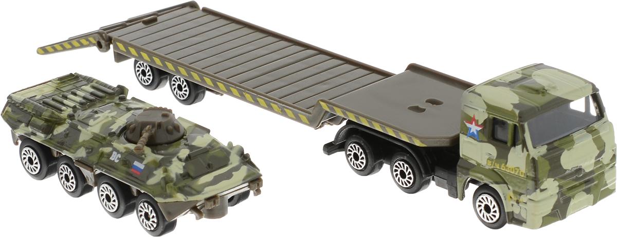 ТехноПарк Набор машинок Транспортер КамАЗ с бронетехникой 2 шт технопарк набор машинок камаз эвакуатор уаз хантер 2 шт