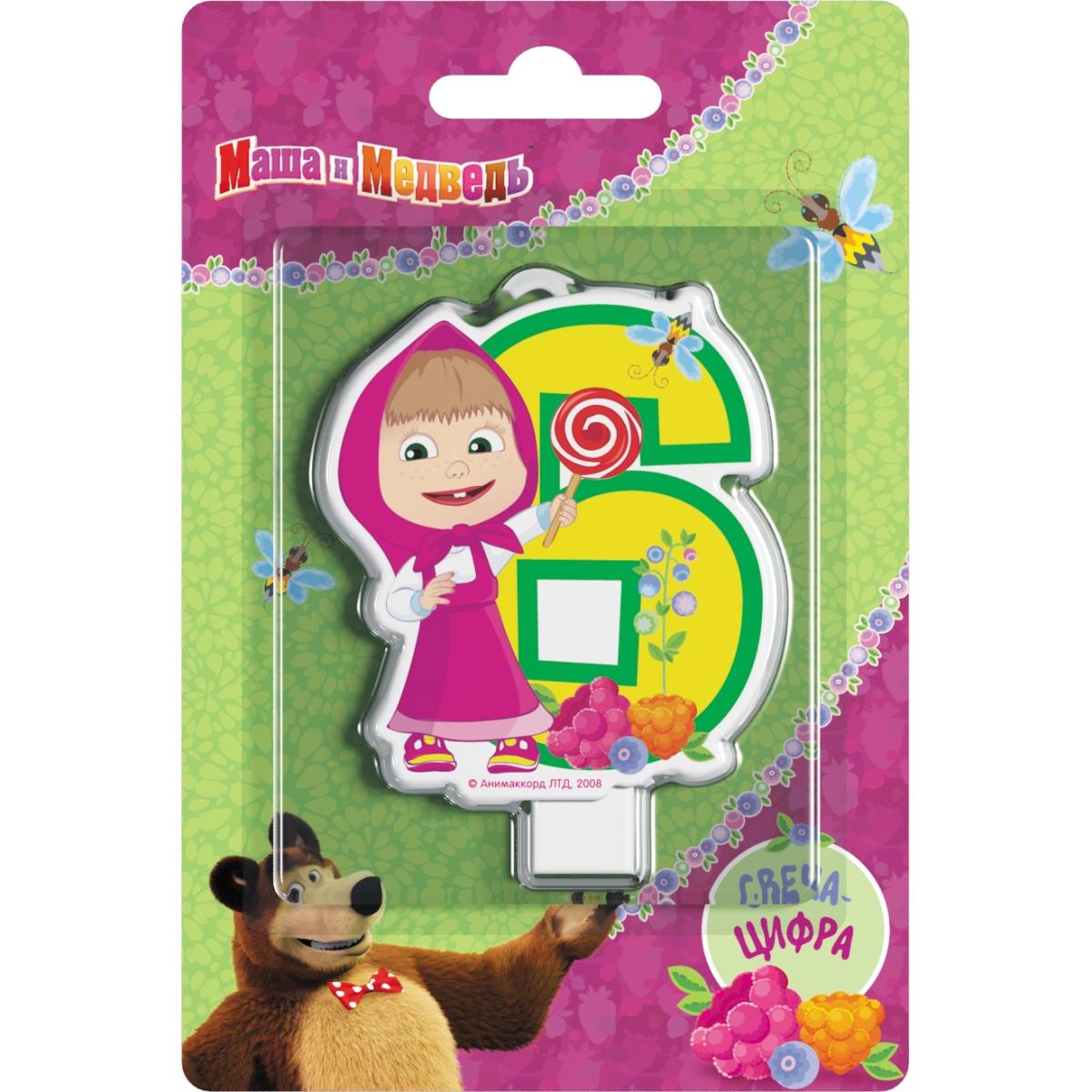 Маша и Медведь Свеча для торта Цифра 6 маша и медведь ручка многоцветная 6 цветов