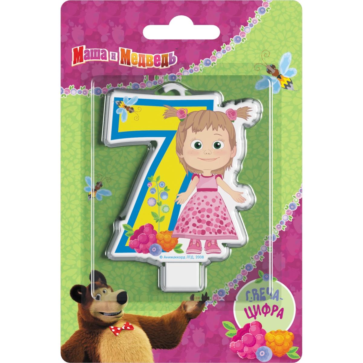 Маша и Медведь Свеча-цифра №7 отк 1 5 спальный день рождения маша и медведь