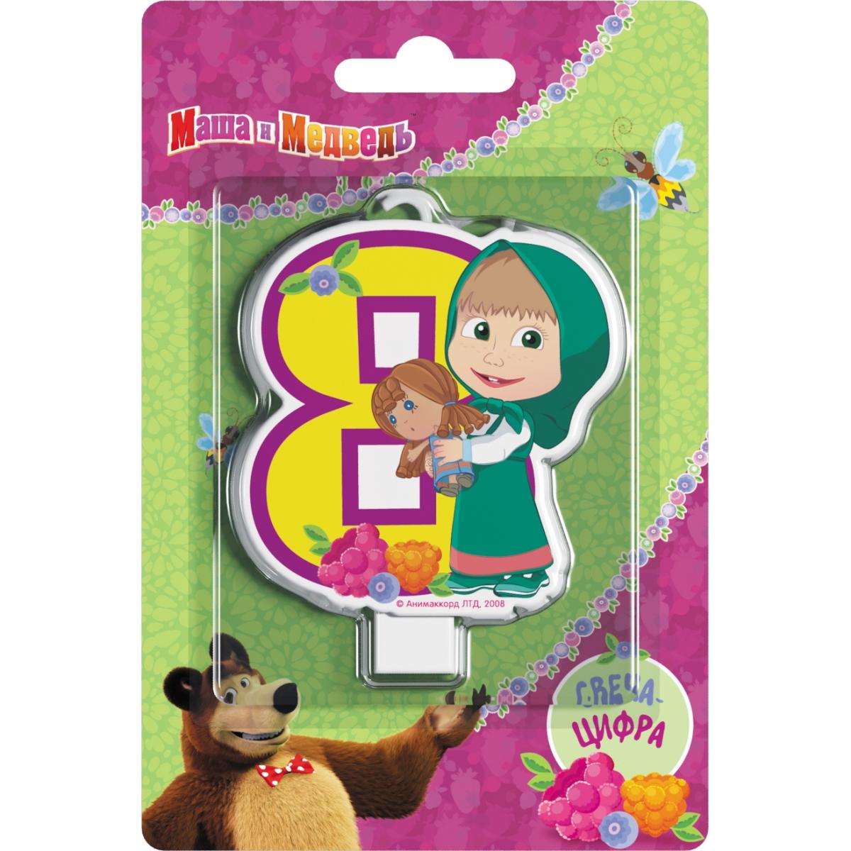 Маша и Медведь Свеча-цифра №8 отк 1 5 спальный день рождения маша и медведь