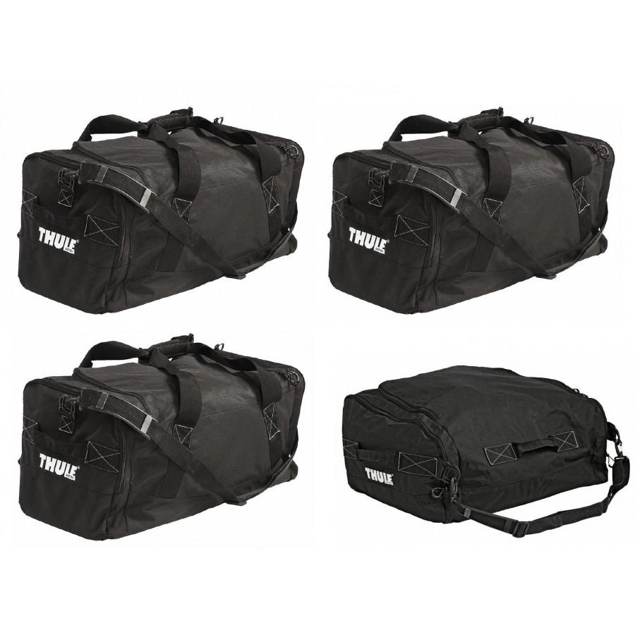Набор сумок Thule Go Pack Set, 4 шт. 80068006Набор сумок Thule Go Pack Set состоит из трех сумок GoPack 8002 и одной сумки GoPack Nose 8001. Сумки специально предназначены для размещения в передней части грузовых боксов. Изделия имеют защитные резиновые подкладки в углах. Наплечные ремни и ручки делают сумки более удобными при переноске. Все сумки имеют один большой карман и по два боковых.Размер сумок GoPack 8002: 61 х 33 х 31 см.Размер сумки GoPack Nose 8001: 61 х 42 х 28 см.