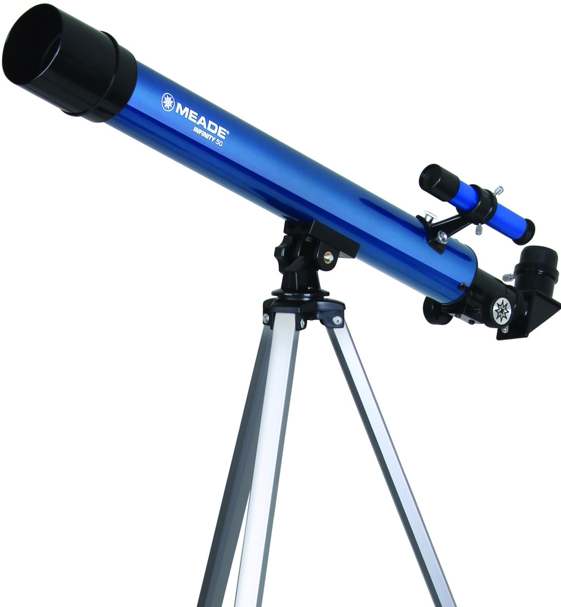 Meade Infinity 50 мм азимутальный телескоп-рефракторTP209001Легкий, простой в сборке телескоп-рефрактор с объективом диаметром 50 мм обеспечивает хорошее разрешение для наблюдения Луны, планет и наиболее ярких звездных скоплений, а так же удобен для наблюдений за наземными объектами. Этот компактный телескоп на устойчивой треноге из алюминиевого сплава отлично подойдет для юного астронома, делающего первые шаги в познании устройства Вселенной. Несмотря на кажущуюся простоту с помощью почти таких же телескопов астрономы в средние века совершили впечатляющие открытия.Телескоп укомплектован азимутальной монтировкой (системой шарниров, обеспечивающей удобное перемещение оптической трубы по вертикали и горизонтали) на устойчивой треноге с возможностью регулировки высоты ног, делая его удобным при наблюдениях независимо от роста человека. Азимутальная монтировка очень проста в сборке и установке. Для удобного поиска объектов на трубе телескопа установлен оптический искатель.В комплект телескопа Infinity 50 мм входит целых три окуляра 20, 12, и 4 мм, обеспечивающих увеличения 30, 50, и 150 крат и 2 кратной линзой Барлоу, которая увеличивает фокусное расстояние ровно в два раза и удваивает набор возможных увеличений без необходимости покупать какие-либо дополнительные окуляры. Диагональное 90 градусное зеркало, обеспечивает максимальный комфорт при наблюдении наземных объектов.Для производства объективов Infinity 50 мм используется оптическое стекло, а просветляющее покрытие линз уменьшает потери и паразитное рассеивание света, что обеспечивает очень хорошее качество изображения при малых и средних увеличениях. В телескоп с таким световым диаметром (50 мм) можно наблюдать Сатурн, Юпитер, Марс, а так же россыпи звезд скоплений Плеяды, Туманность Ориона. Так же доступны и другие астрономические объекты.В качестве бонуса в комплект включен диск с программой-планетарием, которая покажет положение созвездий и других объектов на момент вашего наблюдения. Эта программа поможет не 