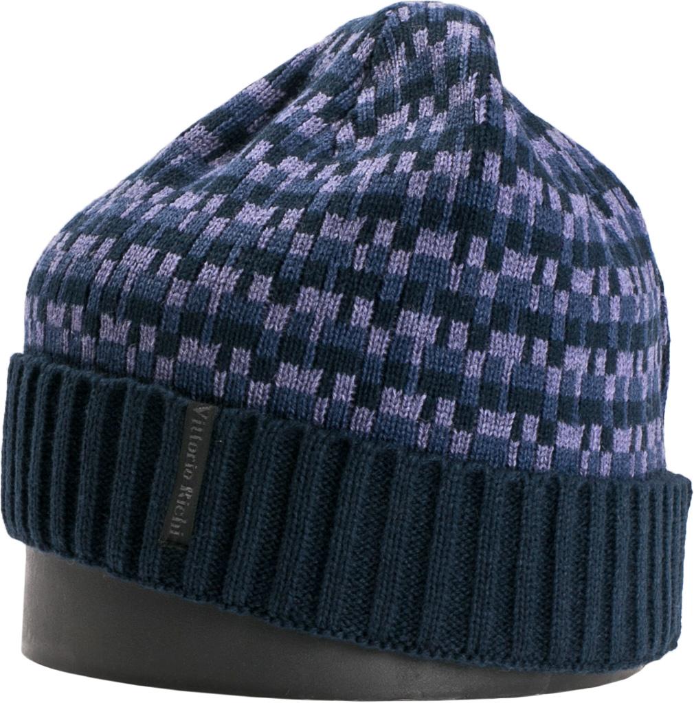 Шапка мужская Vittorio Richi, цвет: темно-синий, голубой. NSH140723. Размер 56/58NSH140723Стильная мужская шапка Vittorio Richi отлично дополнит ваш образ в холодную погоду. Модель, изготовленная из шерсти с добавлением акрила, максимально сохраняет тепло и обеспечивает удобную посадку. Шапка дополнена геометрическим принтом и сбоку фирменной нашивкой. Модная шапка подчеркнет ваш неповторимый стиль и индивидуальность.