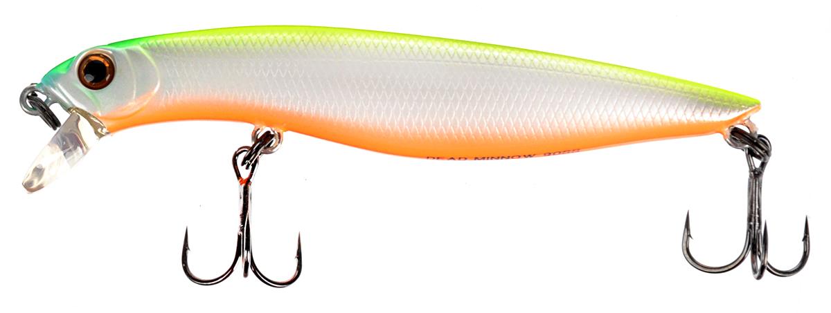 Воблер Tsuribito Dead Minnow SS, цвет: салатовый, белый, оранжевый (038), длина 9 см, 11,70 г70420Классический воблер Tsuribito Dead Minnow SS, выполненный из высококачественного пластика и металла, обладает очень реалистичной игрой. Воблер с медленно тонущим типом, предназначен для рыбалки на хищную рыбу в прибрежной зоне, с заглублением от 0,5 до 1,2 м.За счет длинного тела, приманка обладает хорошей игрой при проводке, привлекая внимание рыбы. Кроме того, воблер идеально подходит для выполнения точных забросов на дальние расстояния в открытых водоемах.Какая приманка для спиннинга лучше. Статья OZON Гид