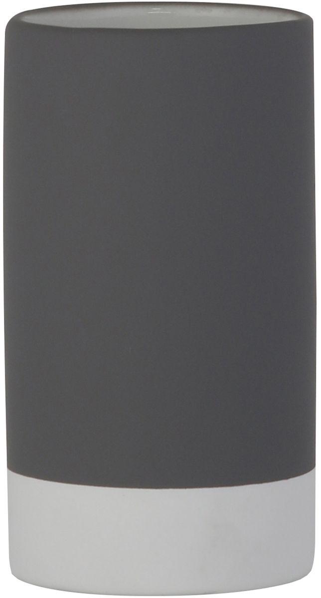 Стакан для ванной комнаты Axentia Florenz, цвет: серый, 7 х 7 х 12 см122358Стакан Axentia Florenz для ванной комнаты из белой керамики, покрытой снаружи до основания прорезиненным приятным на ощупь софт-тач пластиком серого цвета.Размер товара: диаметр 7 x высота 12 см.