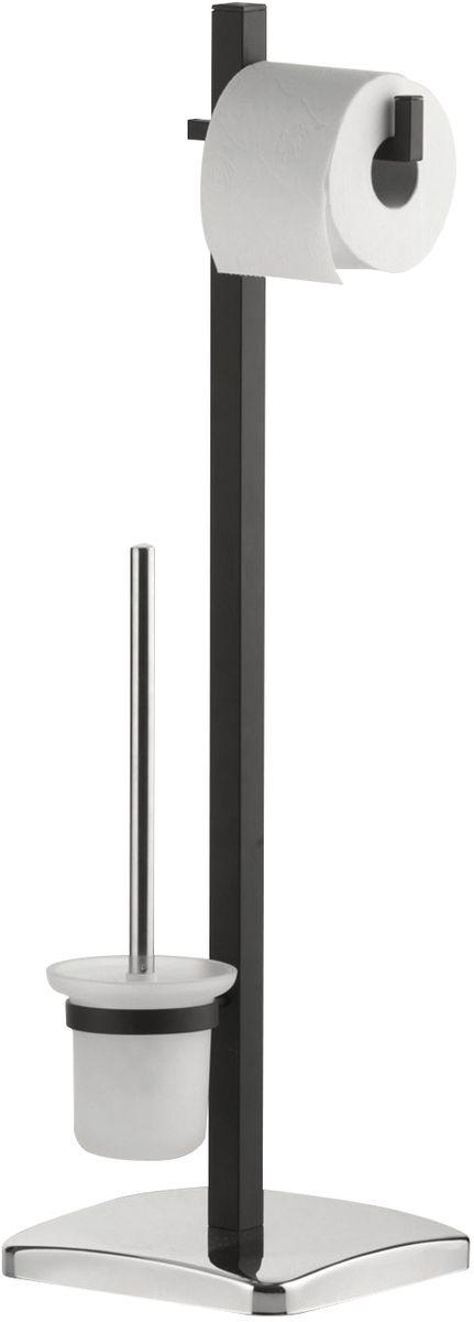 Гарнитур для туалета Axentia Paris, с держателем для бумаги, цвет: серебристый, 22,5 x 25 x 77,5 см122457Туалетный гарнитур с держателем для бумаги Axentia Paris из хромированной стали дополнен стеклянной колбой. Основание -квадратная тяжелая плита.