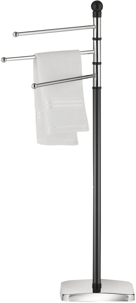 Вешалка для полотенец Axentia Paris, напольная, цвет: серебристый, высота 91 см122460Вешалка напольная Axentia Paris для полотенец с круглым основанием, c 3-мя вращающими планками; материал: хромированная сталь; покрытие/цвет: черный/серебряный; Размер товара: высота 91 см.