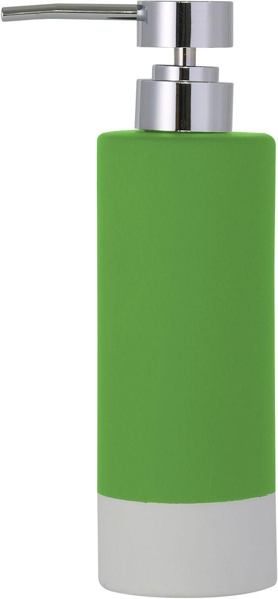 Диспенсер для мыла Axentia Florenz, цвет: зеленый122518Диспенсер для мыла Axentia Florenz - незаменимый аксессуар для тех, кто ценит чистоту своей раковины и экономный расход мыла. Изделие выполнено из керамики, покрытой прорезиненным софт-тач пластиком. Размеры: 6,6 x 6,6 x20,3 смОбъем: 350 мл