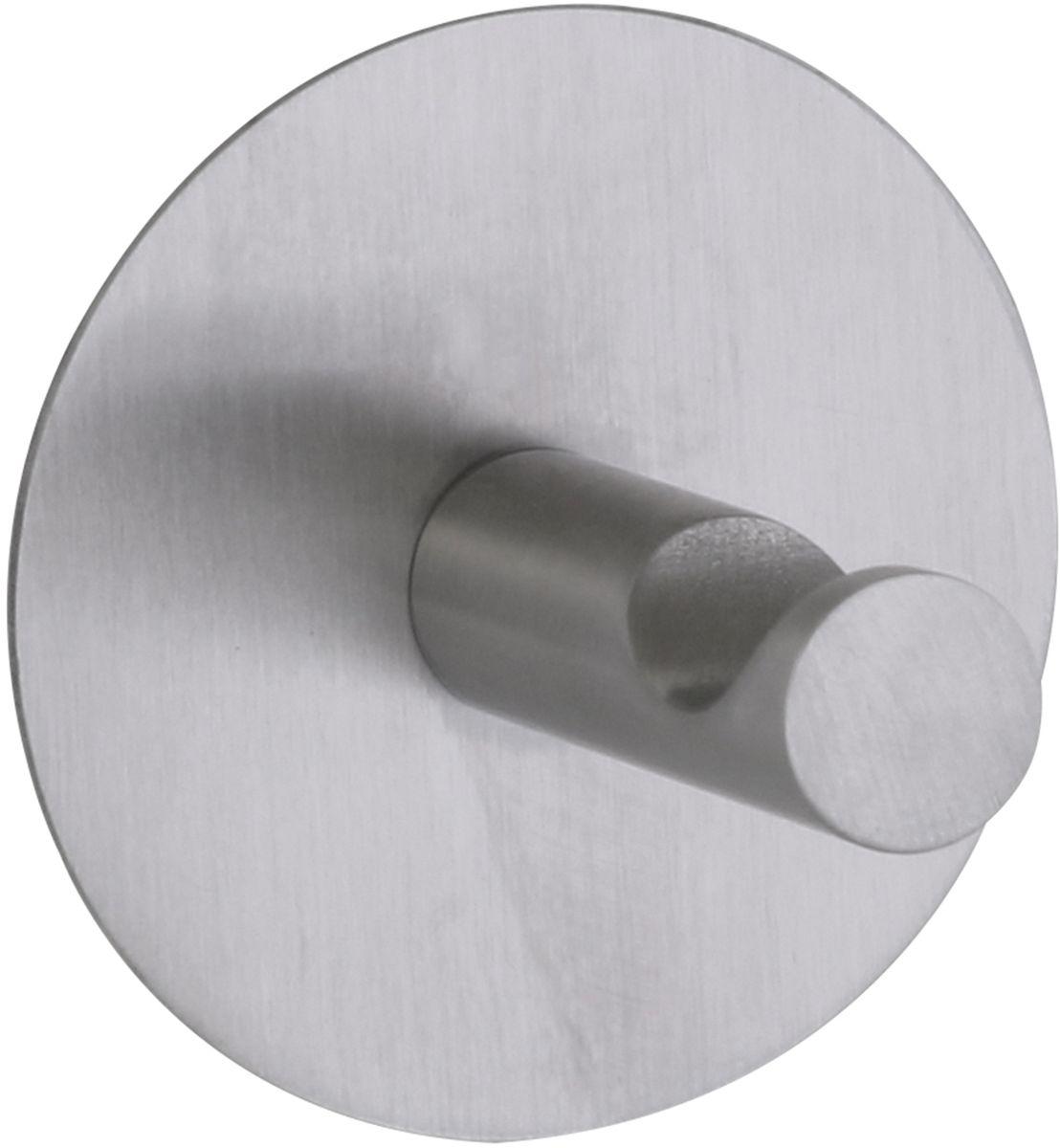 Крючок Axentia, самоклеящийся, цвет: серебристый, 5 х 4 х 1 см122533Крючок Axentia изготовлен из нержавеющей стали, имеет матовую полировку и круглое основание. Надежно крепится к кафельной плитке, стеклу, металлу и другим твердым и ровным поверхностям. Надежность обеспечивается большой площадью контакта с поверхностью диаметром 5 сантиметров. Выдерживает вес 2 кг. Не подойдет для крашеных стен и на бумажные обои.Размеры: 3,8 х 5 х 5 см.
