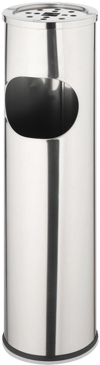 """Урна для мусора с пепельницей """"Axentia"""" изготовлен из высококачественной нержавеющей стали. Контейнер для отходов  компактный, элегантный и высокого качества. Внутри дно окрашено краской черного цвета. Урна имеет  отверстие для мусора сбоку и пепельницу сверху. Верхний контейнер для окурков имеет антипригарное покрытие. Боковое отверстие обрамлено резиновым кольцом. Основание оснащено утяжелителем и резиновой накладкой для устойчивости.  Высота: 57 см.  Диаметр: 15 см.  Объём: 10 л."""