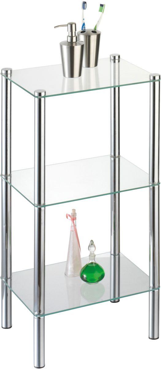 """Стойка напольная Axentia """"Solanio"""" высотой 77 см с 3-мя стеклянными полками. Изготовлена из хромированной стали, с высокой защитой от коррозии. Удобная и вместительная, сэкономит место в ванной комнате, так же подойдет для универсального домашнего использования. Простая сборка, инструкция в комплекте. Размер: 40 х 30 х высота 77 см. Упаковка картон."""