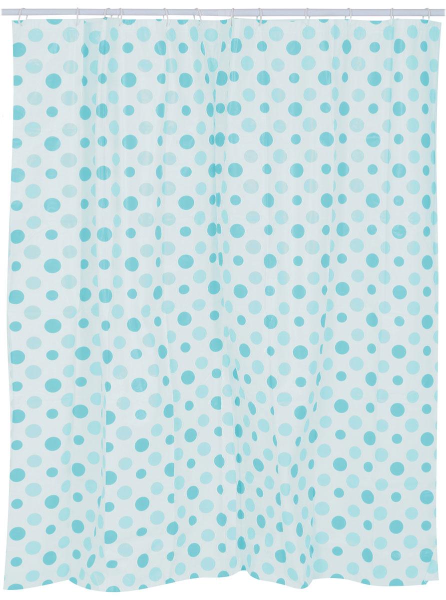 Штора для ванной комнаты Top Star, цвет: мультиколор, 180 х 180 см282830Штора для ванной комнаты Top Star 12 колец, 3 магнита, 180х180 см, круги, 3 варианта цвета: красный, синий, зеленый; материал: полиэтиленвинилацетата (PEVA) - экологично; покрытие/цвет: красный/синий/зеленый