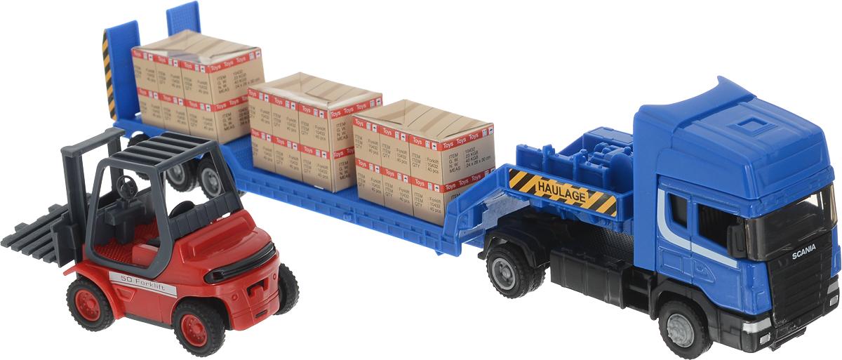 Autogrand Набор машинок Scania с погрузчиком на платформе цвет синий - Транспорт, машинки