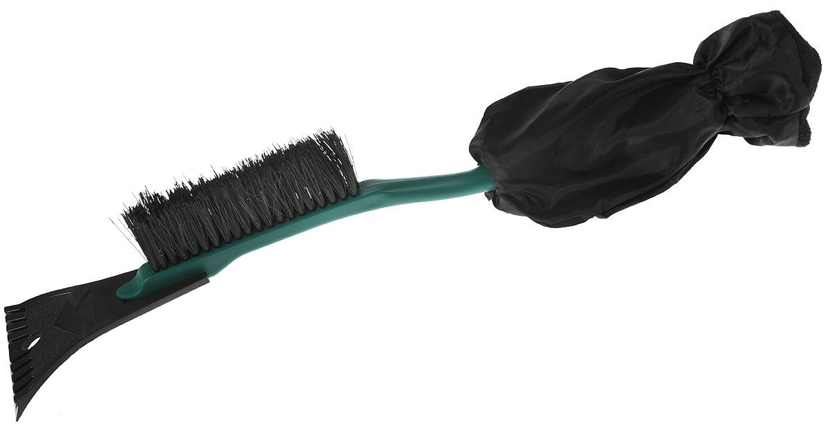 Щетка для снега Sapfire, с варежкой, цвет: темно-зеленый, черный, длина 52 см0100-SFЩетка Sapfire предназначена для удаления снега и льда с поверхности автомобиля. Изделие, изготовленное из морозостойкого пластика, снабжено скребком и имеет мягкую теплую нескользящую рукоятку с варежкой. Щетина выполнена из высокоупругого полимера. Длина щетки: 52 см. Ширина скребка: 10 см.