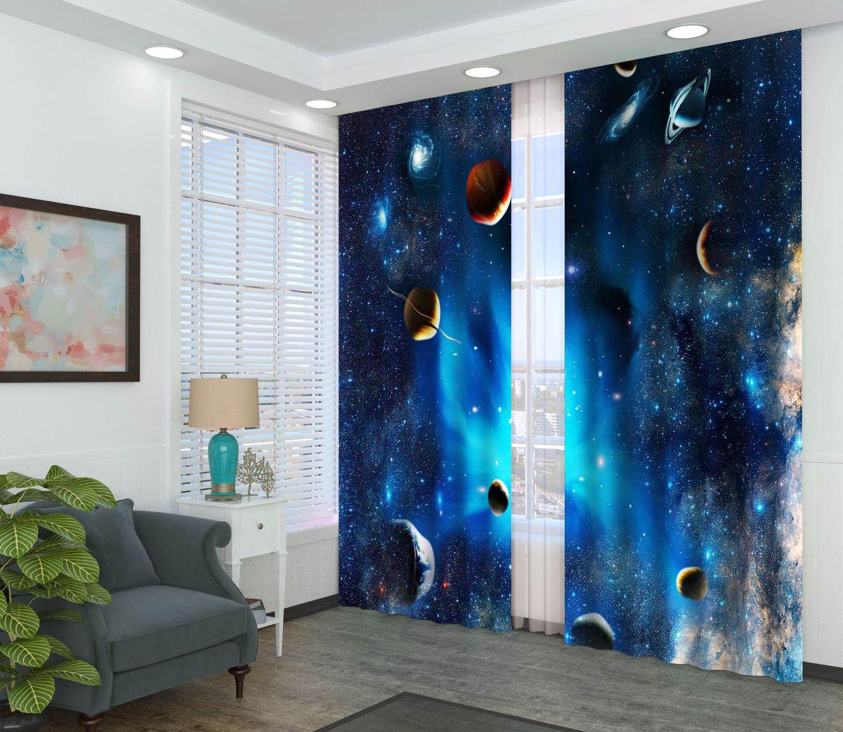 Комплект фотоштор Сирень Вселенная, на ленте, высота 260 см комплект фотоштор сирень водопад для двоих на ленте высота 260 см 03747 фш бл 001