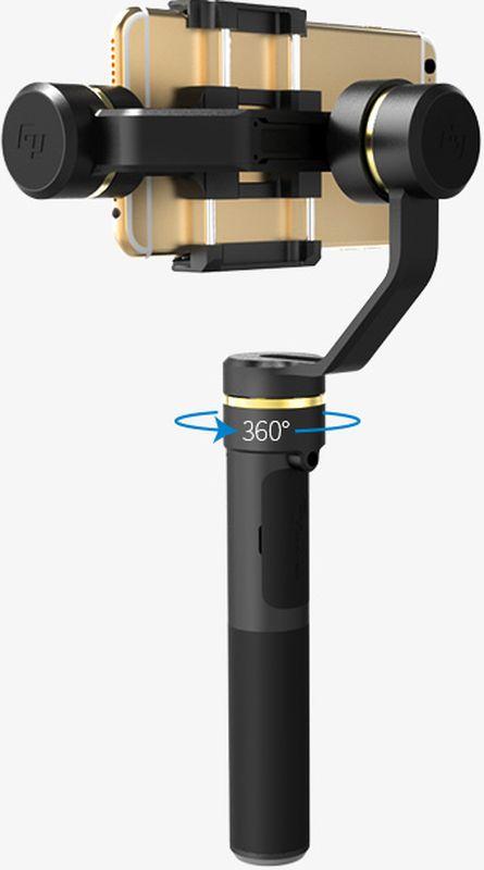 Feiyu Tech SPG, Black трехосевой стабилизаторSPGБлагодаря универсальному стедикаму для смартфонов Feiyu SPG вы сможете использовать любой смартфон как профессиональную кинокамеру в условиях экстремальной съемки: катаясь на сноуборде, велосипеде, мотоцикле, машине или даже просто бегая, вы сможете качественно заснять своего коллегу или себя в движении без тряски картинки.Благодаря конструкции данного стабилизатора и его автоматической регулировке положения через систему грузов, смартфон удерживается в идеально ровном положении без тряски и колебаний.Вся изюминка этого стедикама в универсальной рамке - конструкция основана на прижимной системе, благодаря чему смартфон удерживается за счет верхней прижимной рамки (что-то похожее используется в селфи-палках для смартфонов). Но, если бы все было так просто, то так мог поступить любой производитель. Дело в том, что помимо рамки стедикаму приходится работать с разными весами.Смартфон тяжелее любой экшн-камеры - это вызвало необходимость в переработке систем моторов - их мощность значительно увеличена, за счет этого пользовать и получает такую универсальность. Вы просто оттягиваете верхнюю часть рамки, вставляете внутрь смартфон и опускаете ее - готово.Feiyu SPG сделан из легкого металла, что делает его неприхотливым к условиям съемки. Данный стабилизатор имеет три умных режима съемки: он может сохранять положение камеры идеально ровным в одной точке, вслед за направлением вашей руки, и в смешанном режиме - все это позволяет достигнуть невероятно идеального качества съемки и четкости картинки - переключение происходит всего одной кнопкой за пару секунд.Любители стримить видео в онлайне, а так же видео блогеры по достоинству оценят новый вертикальный режим съемки. Режим автоматически активируется при наклоне стедикама в сторону рукоятки.Совместим с серией iPhone/HUAWEI P9/HUAWEI P9 Plus/Mi 5/MEIZU MX6/SAMSUNG NOTE 5/S7 и другими с аналогичными размерами;Возможность вертикальной съемки; Система быстрого снятия и установки сма