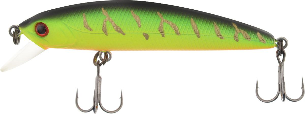Воблер Tsuribito Minnow F, цвет 028, 60 мм24642Minnow 110F - отличный воблер для ловли на небольших глубинах и над зарослями травы, где часто охотится щука и другие хищники. Благодаря системе дальнего заброса с магнитом воблер очень хорошо летит при забросе, и устойчиво играет даже при проводке с рывками. Мощные тройники надёжно засекают рыбу при поклёвке. Все эти качества вместе с реалистичной игрой делают этот воблер отличным орудием для ловли крупного хищника.