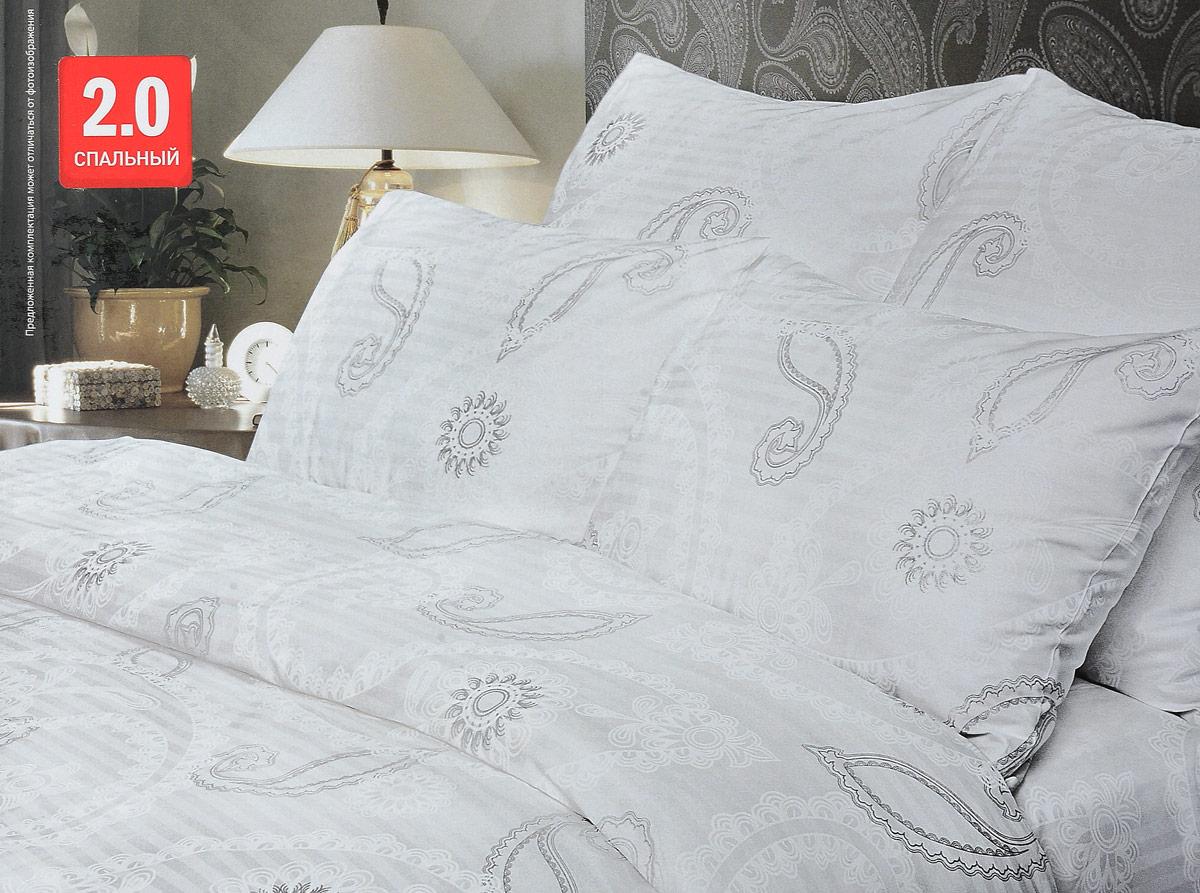 Комплект белья Verossa Серебрянный вальс, 2-спальный, наволочки 50х704600001789612Комплект постельного белья Verossa Серебрянный вальс включает в себя четыре предмета: простыню, пододеяльник и две наволочки, выполненные из страйпа.Страйп - бархатистая, прочная, мягкая ткань. Произведена из высококачественного органического хлопка по итальянским технологиям. Обладает особой мягкостью, приятная на ощупь, что позволяет ощутить особый уют и теплоту во время сна.Размер пододеяльника: 180 x 215 см.Размер простыни: 220 x 240 см.Размер наволочек: 50 x 70 см.Советы по выбору постельного белья от блогера Ирины Соковых. Статья OZON Гид