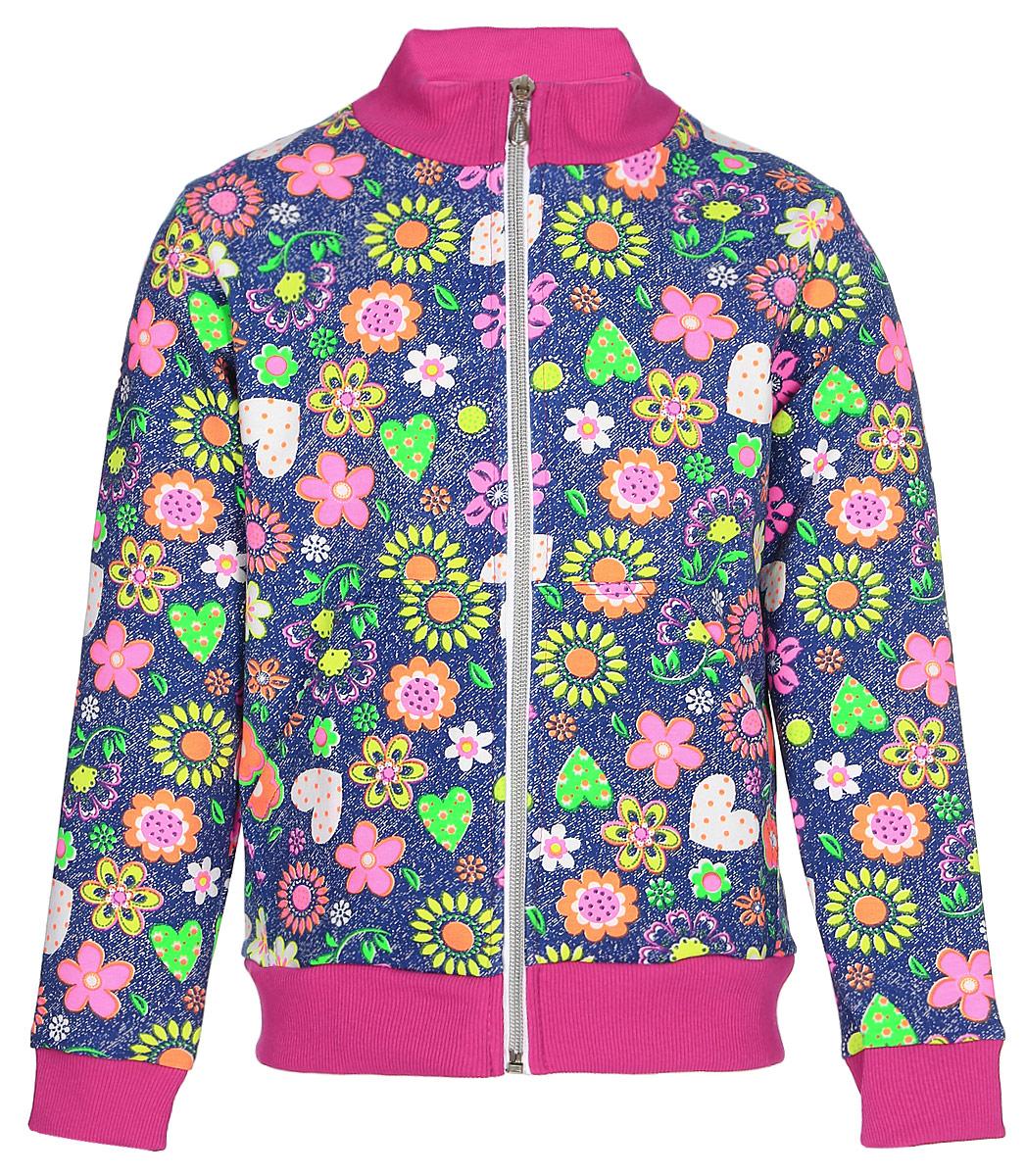 Толстовка для девочки M&D, цвет: (джинс)деним. Д2150211. Размер 116 лосины для девочки m&d цвет бирюза мультиколор м33228 размер 116