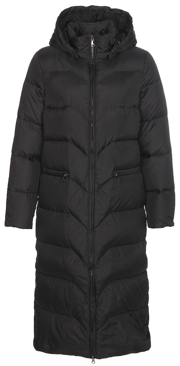 Пальто женское Finn Flare, цвет: черный. W17-11029_200. Размер M (46)W17-11029_200Пальто Finn Flare изготовлено из качественного полиэстера. Модель с длинными рукавами и съемным капюшоном застегивается на молнию. Пальто дополнено спереди прорезными карманами.
