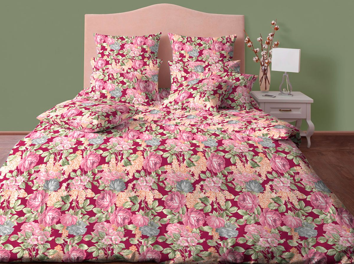 Комплект белья Хлопковый Край Мари, 2-спальный, наволочки 70х70, цвет: бордовый, розовый20б-1ХКссПостельное белье из хлопка. В комплекте две наволочки 70*70 см , простынь 220*200 см, пододеяльник для одеяла 205*172 см.