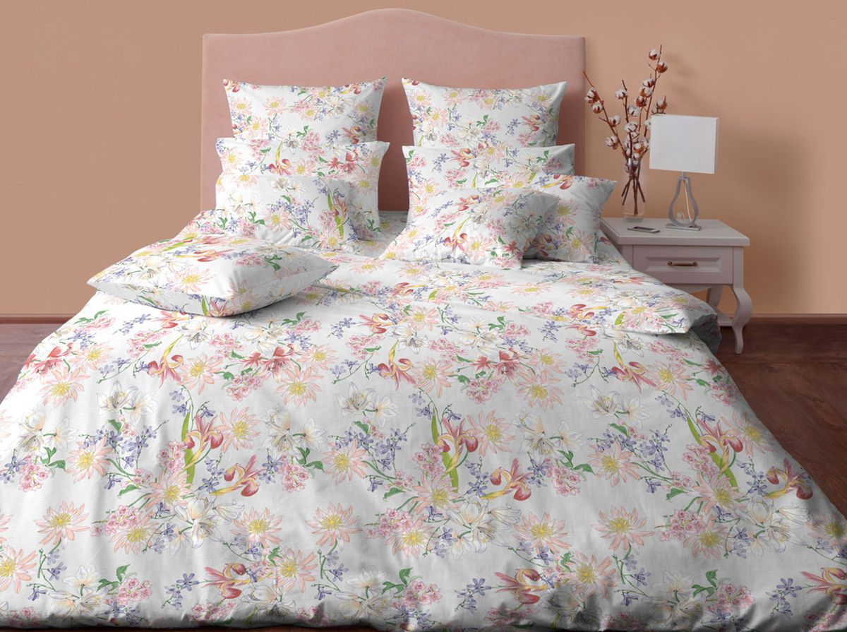 Комплект белья Хлопковый Край Флора, 2-спальный, наволочки 70х70, цвет: бежевый, серый20б-1ХКссПостельное белье из хлопка. В комплекте две наволочки 70*70 см , простынь 220*200 см, пододеяльник для одеяла 205*172 см.