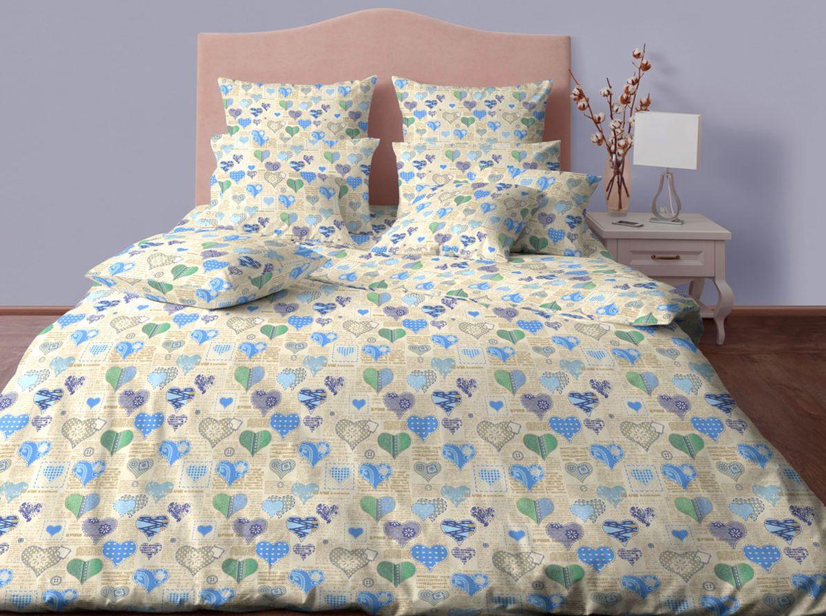 Комплект белья Хлопковый Край Сердечки, 1,5-спальный, наволочки 70х70, цвет: бежевый, синий15б-1ХКссПостельное белье из хлопка. В комплекте две наволочки 70*70 , простынь 220*150, пододеяльник для одеяла 205*140 см.