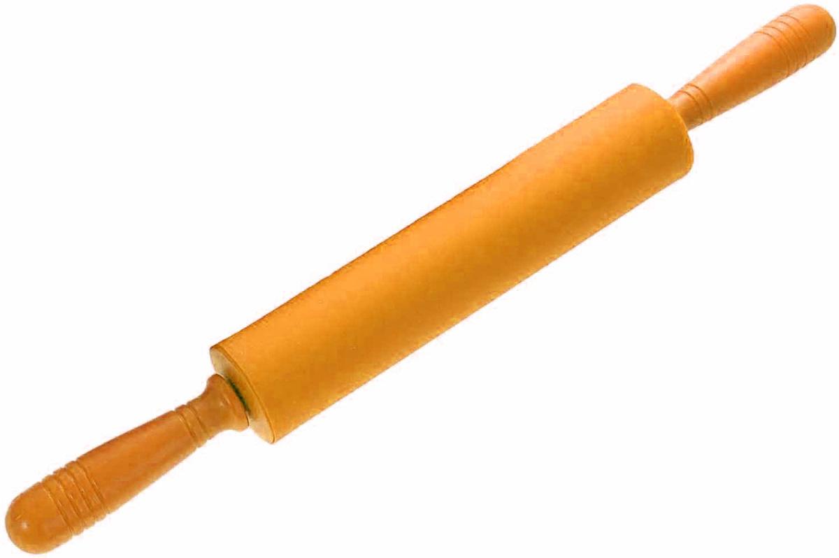 Скалка Доляна Севилья, цвет: оранжевый, 49 х 5,5 см118932Скалка - необходимый на кухне предмет. Изделие из силикона представляет собой усовершенствованную версию привычного инструмента. Яркий дизайн делает предмет украшением арсенала каждого повара. Готовку облегчают удобные ручки.