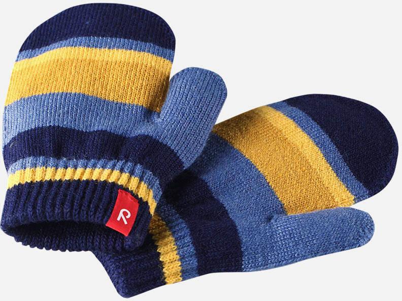Варежки детские Reima Stig, цвет: синий, желтый. 527273698A. Размер 5527273698AВарежки Reima Stig выполнены из упругой шерстяной смесовой пряжи, которая дарит тепло и ощущение комфорта ранней осенью. Манжеты связаны резинкой и оформлены текстильным ярлычком с названием бренда. Варежки идеально подходят для носки под водонепроницаемыми рукавицами.