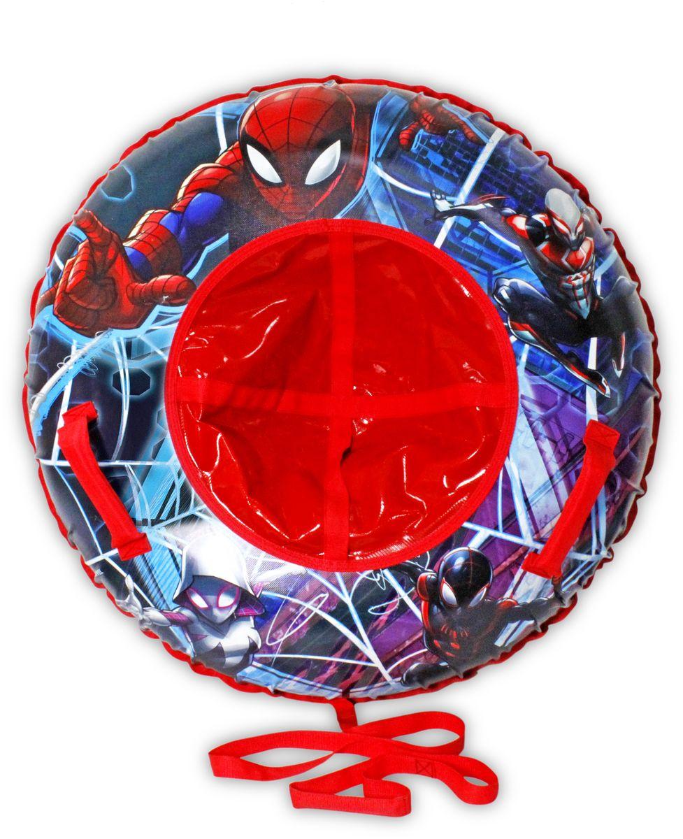 Тюбинг 1TOY Marvel. Человек-Паук, цвет: красный, диаметр 100 смТ10469Marvel Человек-Паук, тюбинг - надувные сани, резин. автокамера, материал глянцевый ПВХ 500 гр/ см, букс. трос, цветн. кор.