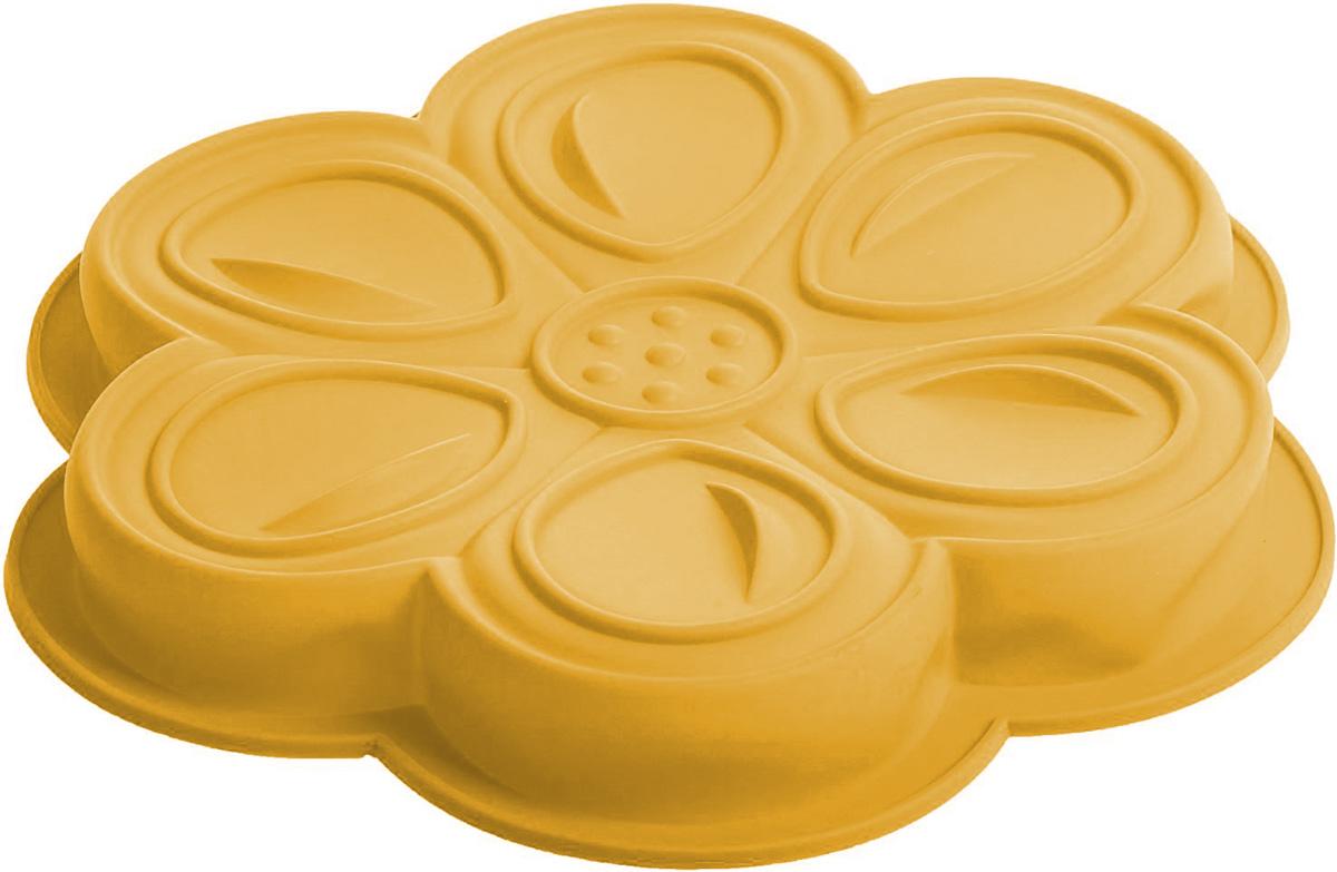 Форма для выпечки Доляна Цветочный мотив, цвет: оранжевый, 27 х 3 см861075Форма Доляна Цветочный мотив, выполненная из силикона, будет отличным выбором для всех любителей домашней выпечки.Силиконовые формы для выпечки имеют множество преимуществ по сравнению с традиционными металлическими формами и противнями. Нет необходимости смазывать форму маслом. Форма быстро нагревается, равномерно пропекает, не допускает подгорания выпечки с краев или снизу.Вынимать продукты из формы очень легко. Слегка выверните края формы или оттяните в сторону, и ваша выпечка легко выскользнет из формы.Материал устойчив к фруктовым кислотам, не ржавеет, на нем не образуются пятна.Форма может быть использована в духовках и микроволновых печах (выдерживает температуру от -40°С до +250°С), также ее можно помещать в морозильную камеру и холодильник. Можно мыть в посудомоечной машине. Диаметр: 27 см, высота: 3 см.