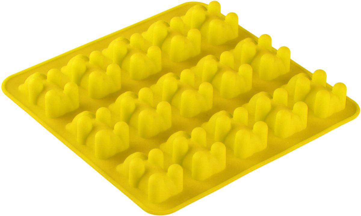"Форма для льда и шоколада Доляна ""Медвежата"", цвет: желтый, 15 ячеек, 18 х 2 см"