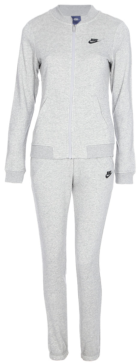 Спортивный костюм женский Nike NSW TRK Suit FT, цвет: серый. 831119-063. Размер L (48/50)831119-063Женский спортивный костюм Nike Sportswear, состоящий из олимпийки и брюк, обеспечивает абсолютный комфорт в спортивном стиле. Воротник в стиле школьной куртки создает стильный образ, а прямой крой брюк обеспечивает удобную посадку. Материал френч терри обеспечивает мягкость и комфорт без утяжеления.