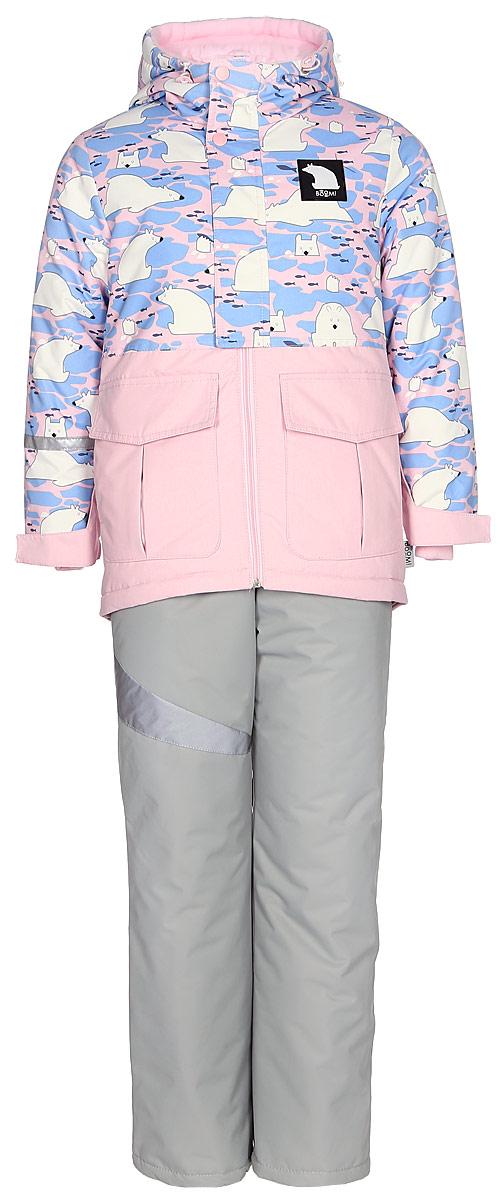 Комплект верхней одежды для девочки Boom!: куртка, брюки, цвет: белый. 70466_BOG_вар.1. Размер 116, 5-6 лет70466_BOG_вар.1Комплект для девочки Boom! включает в себя куртку и брюки. Куртка с длинными рукавами и капюшоном выполнена из прочного полиэстера и имеет подкладку из полиэстера и флиса. Модель застегивается на застежку-молнию спереди и кнопки. Теплые брюки на талии дополнены широкой эластичной резинкой. Комплект дополнен светоотражающими элементами.