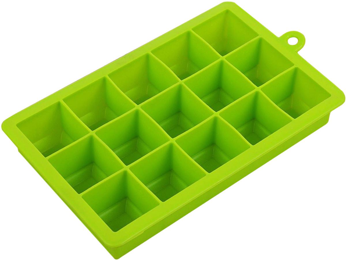 """Форма для льда и шоколада Доляна """"Кубик"""", цвет: салатовый, 15 ячеек, 11,7 х 18,7 х 3,4 см"""
