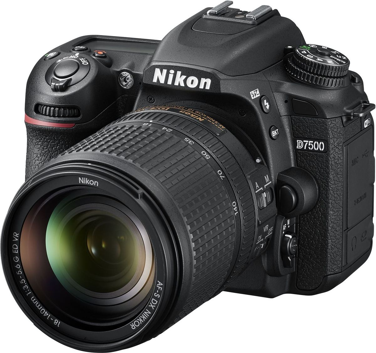 Nikon D7500 Kit 18-140 VR, Black зеркальная фотокамераVBA510K002Погоня за идеальным снимком может увести вас в любые дали. Вашей надежной спутницей в этом путешествии станет мощная и быстрая фотокамера D7500, обладающая широкими возможностями связи. Запечатлейте всю красоту мира благодаря превосходному качеству изображения формата DX, унаследованному от флагманской модели Nikon D500.Фотокамера создает четкие изображения с высокой детализацией и богатыми тональными градациями. Вы оцените исключительно точное распознавание объектов съемки и превосходное качество изображения даже при высоких значениях чувствительности ISO. Качество видеороликов в формате 4K/UHD впечатляет. А с помощью встроенной системы Picture Control можно с легкостью создавать фотографии и видеоролики, соответствующие вашему творческому стилю.Быстрая система обработки изображений Nikon EXPEED 5 гарантирует исключительное качество изображений во всем диапазоне чувствительности ISO. Количество мелких шумов существенно снизилось, и даже кадрированные изображения, снятые при высоких значениях ISO, сохраняют свое качество. С помощью настройки Hi-5 можно увеличить чувствительность до эквивалента 1 640 000 единиц ISO, что позволяет работать практически в полной темноте.Сочетание 180K-пиксельного датчика RGB для замера экспозиции и улучшенной системы распознавания сюжетов гарантируют получение удачного кадра даже при съемке небольших или быстро движущихся объектов. При съемке высококонтрастных сюжетов новый метод замера экспозиции по ярким участкам отдает приоритет ярчайшим элементам кадра, позволяя избежать пересвеченных изображений.Система АФ с 15 центральными датчиками перекрестного типа отличается высокой точностью вплоть до впечатляющего уровня освещенности -3 EV. Это дает возможность снимать ночью и получать резкие изображения, не используя дополнительное освещение. Режим групповой АФ обеспечивает улучшенное распознавание и ведение объекта при съемке сравнительно небольших объектов, расположенных близ