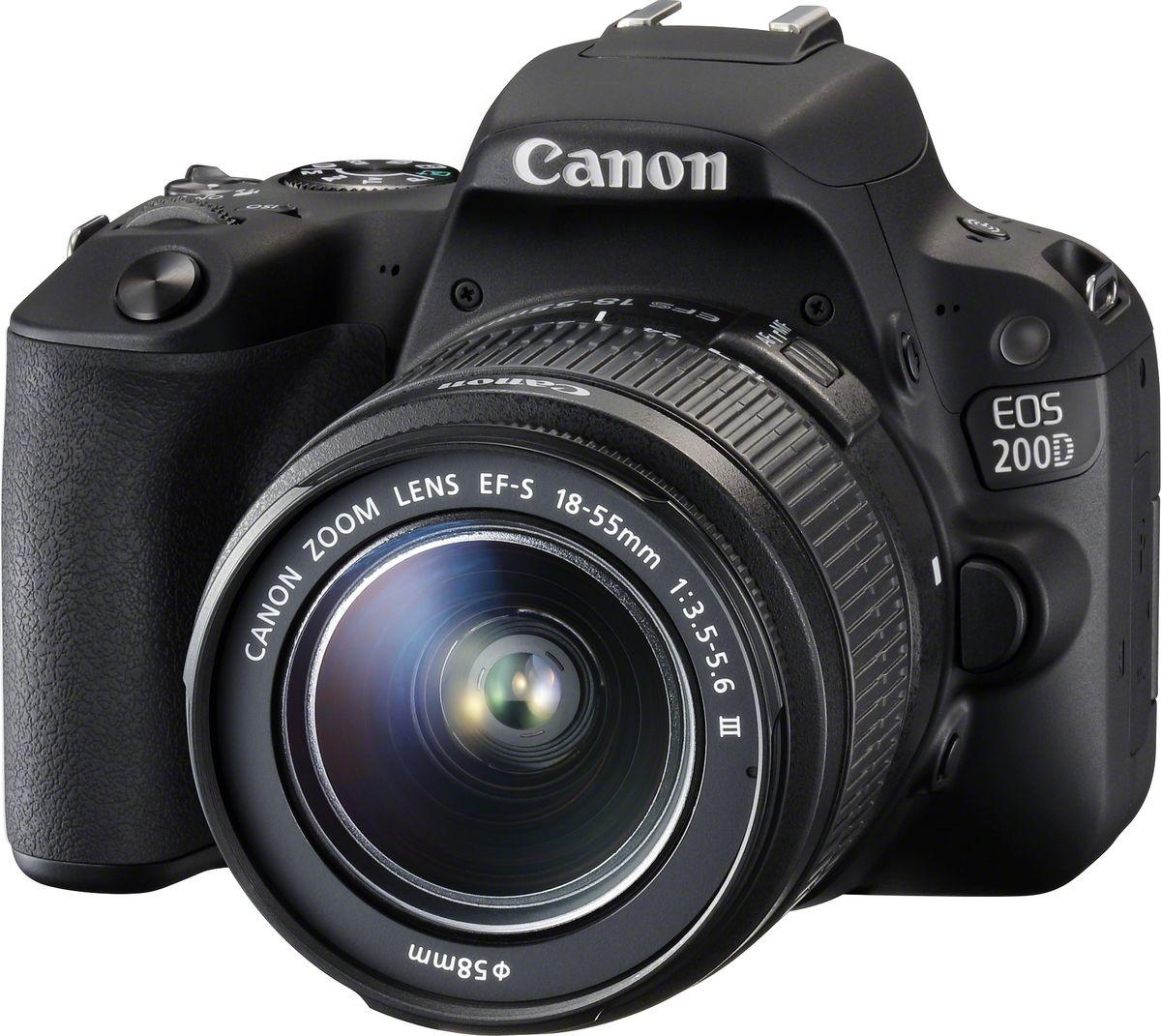 Canon EOS 200D Kit 18-55 DC III, Black цифровая зеркальная фотокамера2250C011Canon EOS 200D - камера, сопровождающая каждый ваш шаг.Благодаря интуитивно понятному управлению и сенсорному экрану камера EOS 200D удобна в использовании с самого первого кадра. Выполняйте съемку с помощью яркого оптического видоискателя, чтобы увидеть мир без искажений, или с помощью экрана с регулируемым углом наклона, который можно повернуть для съемки с нужного ракурса.Снимайте высококачественные детализированные фотографии с точной цветопередачей и разрешением 24,2 МП, которые будут выглядеть превосходно даже без редактирования — идеально для создания отпечатков большого формата, фото-книг и онлайн-галерей, а также для создания ваших фото-историй. Камера оснащена процессором DIGIC 7, который позволяет делать снимки даже в условиях слабого освещения, а также системой Dual Pixel CMOS AF для самой быстрой в мире фокусировки в режиме Live View.Большой датчик изображения APS-C в камере EOS 200D позволяет легко снимать фотографии с малой глубиной резкости — идеальный вариант для портретов. Удерживайте лица в фокусе на красиво размытом заднем плане. Этот подход используют профессиональные фотографы по всему миру.Какой бы способ работы с камерой вы ни выбрали, EOS 200D всегда обеспечит высокую скорость фокусировки и высокую производительность. Выполняйте съемку с помощью работающего без задержек оптического видоискателя, который показывает мир без искажений, или компонуйте кадр с помощью сенсорного дисплея с регулируемым углом наклона и наслаждайтесь самой быстрой в мире автофокусировкой в режиме Live View.Пользовательский интерфейс EOS 200D с подсказками поможет выбрать правильные настройки для создания желаемого эффекта. Как будто рядом с вами находится личный наставник по фотосъемке.Просматривайте, редактируйте и делитесь фотографиями, сделанными EOS 200D, с помощью смартфона или планшета — это легко. Постоянное энергоэффективное Bluetooth соединение позволяет получить доступ к камере, не