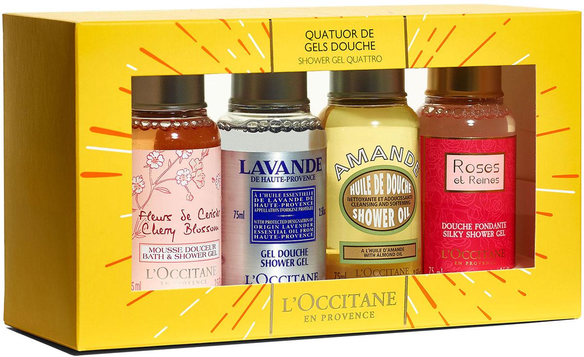 L'Occitane Подарочный набор  Квартет гелей для душа : гель для душа  Вишневый цвет , гель для душа  Пион , масло для душа увлажняющее  Миндаль , гель для ванн и душа  Роза 4 королевы , 4 х 75 мл