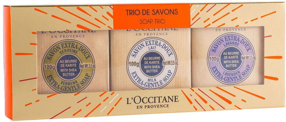 LOccitane Подарочный набор Мыльное трио: мыло Вербена, мыло Лаванда, мыло Молоко, 3 х 100 г064857Мыло Вербена, Лаванда и Молоко великолепно подходит для ежедневного использования. Содержит 100%-ую натуральную основу, обогащен маслом карите. Подходит для мужчин, женщин и детей. Входящий в состав мыла экстракт из листьев вербены лимонной обладает тонизирующими и освежающими свойствами и бодрящим лимонным ароматом; розмарин насыщен эфирным маслом с антисептическими, антиоксидантными, очищающими, успокаивающими свойствами.