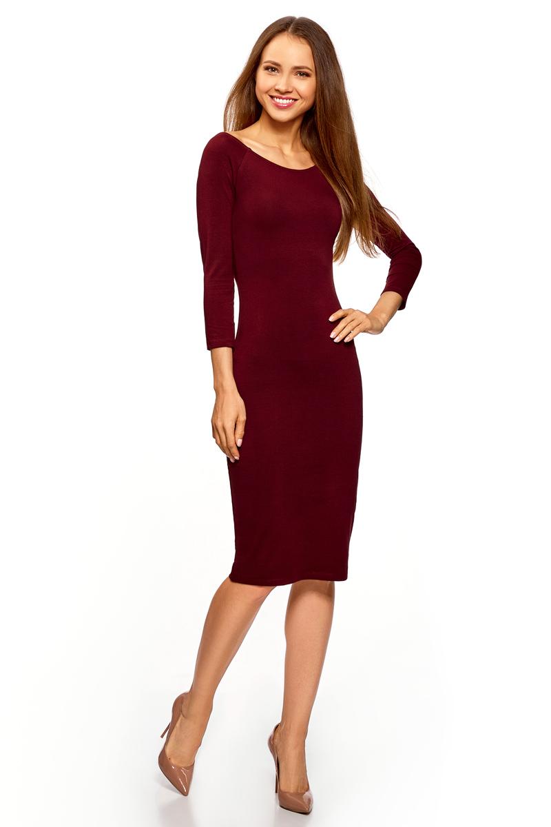 Платье oodji Ultra, цвет: бордовый. 14017001-6B/47420/4900N. Размер M (46) платье oodji ultra цвет сиреневый 14017001 6b 47420 8000n размер xl 50