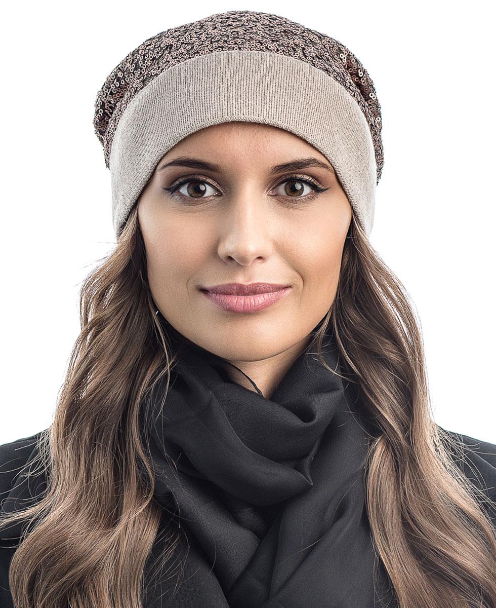 Шапка вязаная женская Stilla, цвет: светло-коричневый. SH-1770/10. Размер 52/58SH-1770/10Яркая вязаная женская шапка Stilla, изготовленная из пряжи с содержанием шерсти и акрила исключительно мягкая, комфортная и теплая. Мелкая плотная вязка, декорированная пайетками, делает эту модель эффектной и не забываемой. Практичная форма шапки делает ее очень комфортной. Шапка одинарная, без подкладки, с широким отворотом . Шапка Stilla прекрасно дополнит ваш образ с шубой или пальто.