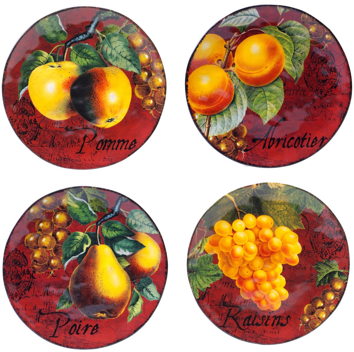 """Набор Certified International """"Фрукты"""" состоит из 4 тарелок, изготовленных из высококачественной  керамики, которая отличается практичностью и высоким качеством исполнения. Посуда  расписана вручную и покрыта глазурью, выполнена из экологически чистых материалов, что  обеспечивает сохранение отменного вкуса блюд. Эта керамическая посуда химически инертна, не  вступает в реакцию с пищей, не выделяет вредных веществ при перегреве.  Такой набор прекрасно оформит праздничный стол и станет замечательным сувениром к Новому  году. Можно мыть в посудомоечной машине и использовать в микроволновой печи."""