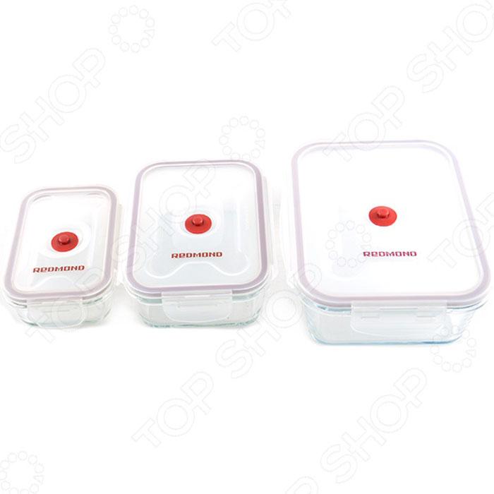 Redmond RAM-VS1 комплект вакуумных контейнеров (3 шт.)RAM-VS1Комплект вакуумных контейнеров Redmond RAM-VS1 – уникальный набор, состоящий из 3 боксов разного размера,незаменимых для любой кухни. Контейнеры VS1 - универсальное, надежное и очень удобное средство храненияпродуктов, помогающее увеличить срок их годности. VS1 изготовлены из жаропрочного стекла и пищевогопластика, температурный диапазон использования контейнеров без крышек от –20°С до +300°С. Размеры трехконтейнеров оптимально подобраны для многоцелевого использования и различных видов продуктов. Уважаемые клиенты! Обращаем ваше внимание на то, что насос в комплект не входит