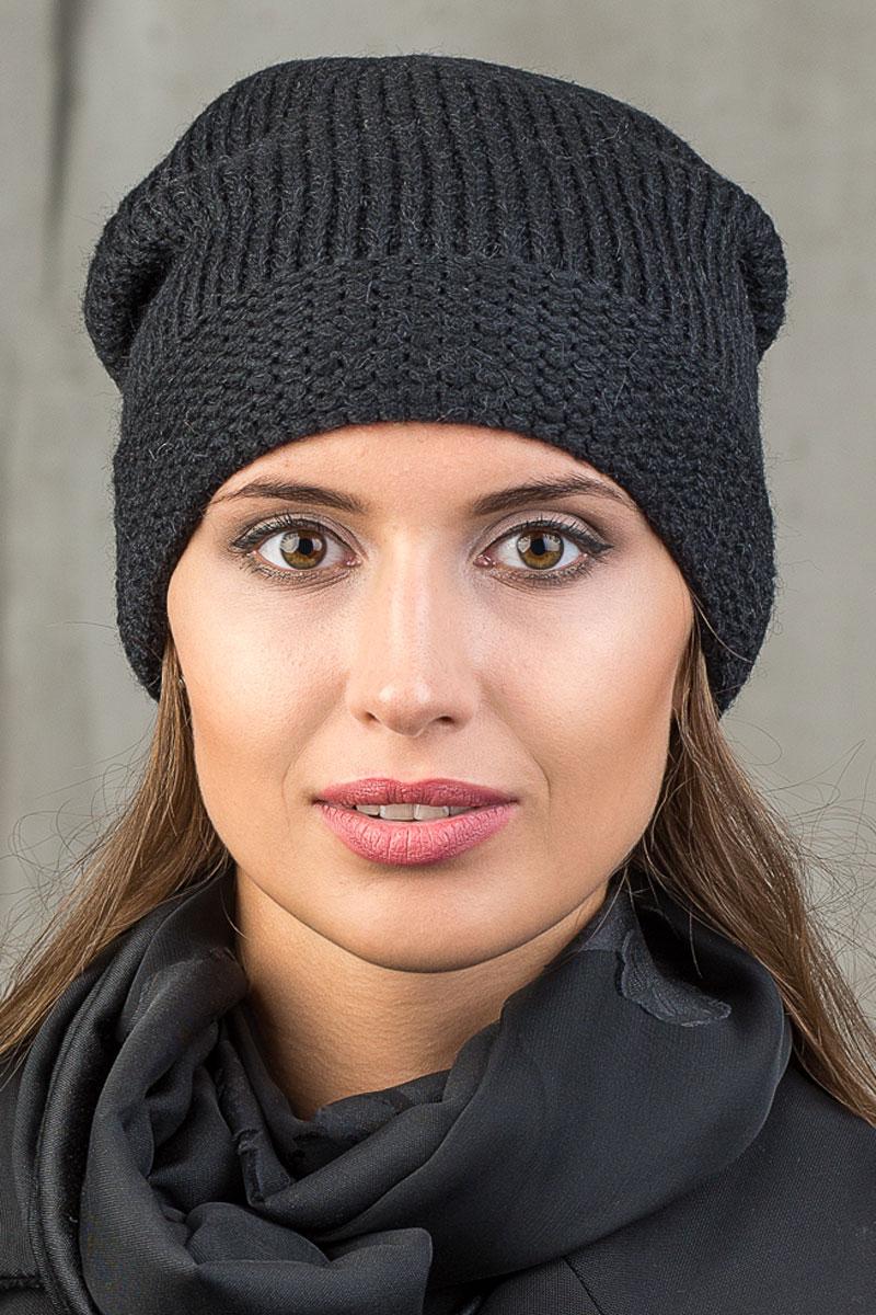 Шапка вязаная женская Stilla, цвет: черный. SH-1766/06. Размер 52/58 шапки mialt шапка
