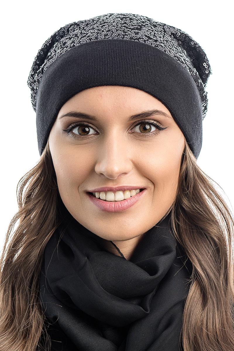 Шапка вязаная женская Stilla, цвет: черный. SH-1770/01. Размер 52/58SH-1770/01Яркая вязаная женская шапка Stilla, изготовленная из пряжи с содержанием шерсти и акрила исключительно мягкая, комфортная и теплая. Мелкая плотная вязка, декорированная пайетками, делает эту модель эффектной и не забываемой. Практичная форма шапки делает ее очень комфортной. Шапка одинарная, без подкладки, с широким отворотом . Шапка Stilla прекрасно дополнит ваш образ с шубой или пальто.