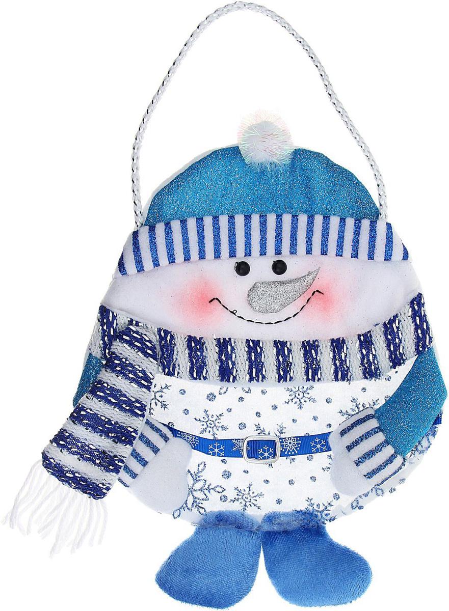 Сумка подарочная Sima-land Снеговик, цвет: голубой, 26 х 20 см. 1010467 корзинка для мелочей sima land цвет оранжевый диаметр 15 см