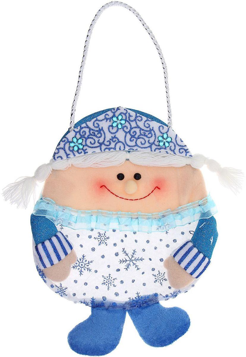 Сумка подарочная Sima-land Снегурочка, цвет: голубой, 26 х 20 см. 1010469 сумка дорожная sima land цвет синий 2426881