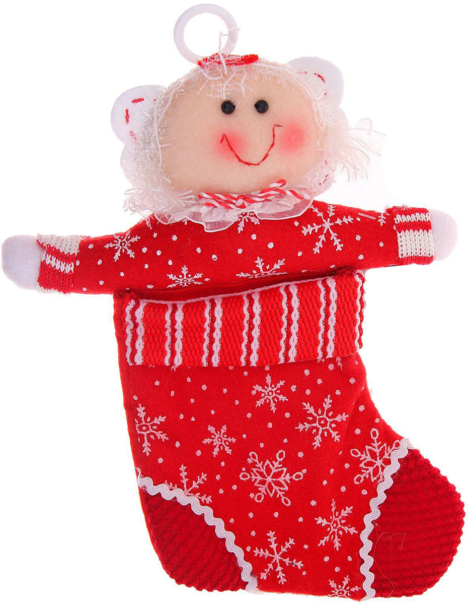 Носок для подарков Sima-land Снежинка, цвет: красный, 30 х 20 см1010483Оригинальный носок для подарков Sima-land - отличное обрамление для подарков! Также это - красивый сувенир, который украсит любой дом в новогодний праздник. Прекрасная традиция класть подарки в подвесной мешочек-носок добавит волшебства в новогоднюю ночь!