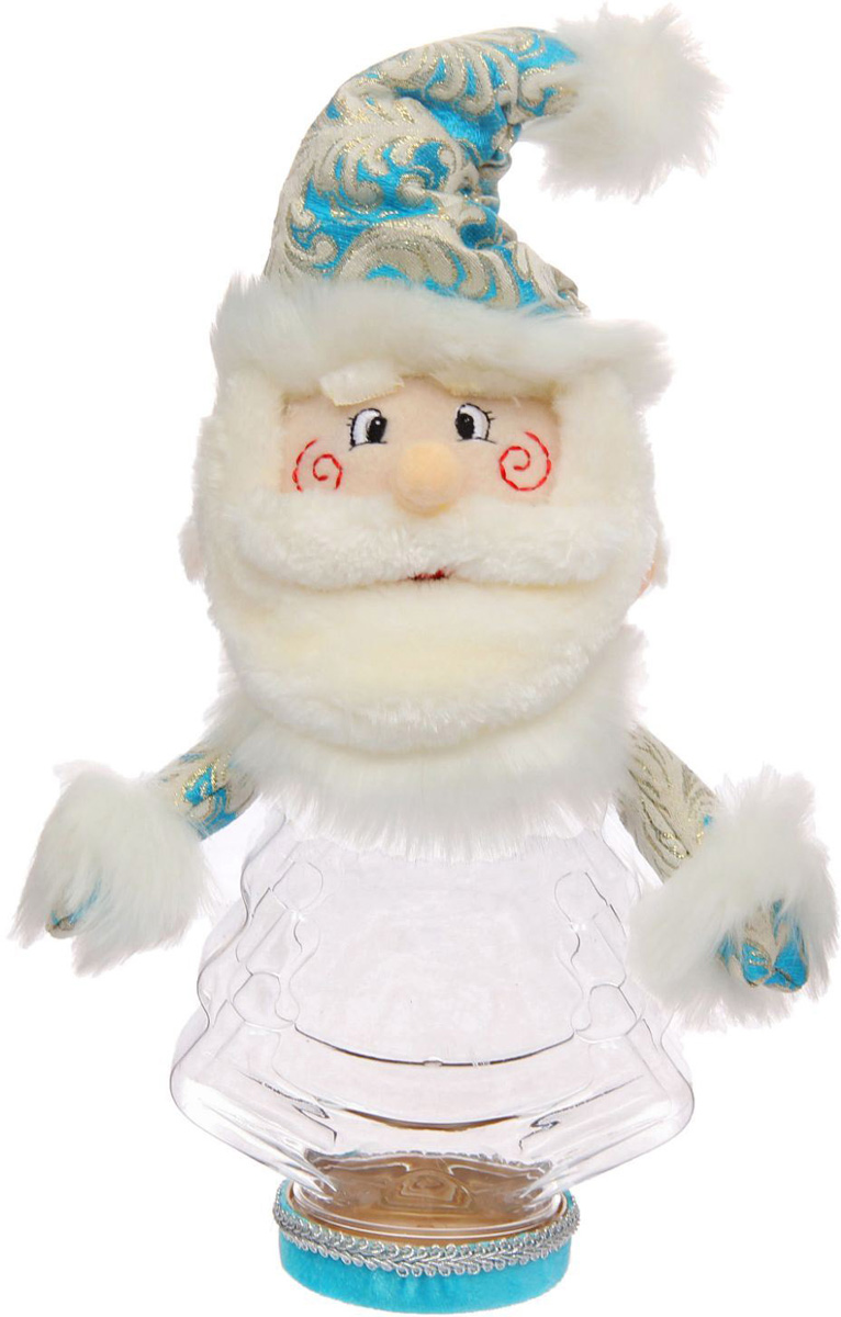 Подарочная упаковка Sima-land Дед мороз, цвет: голубой, белый, вместимость 320 г упаковка подарочная страна карнавалия конфетница дедушка мороз цвет красный белый